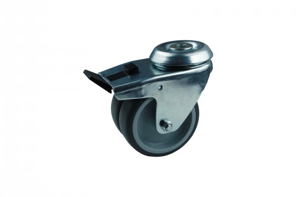 Apparatedoppelrolle Lenkrolle Bremse Rückenloch Gleitlager Thermoplast 75 mm