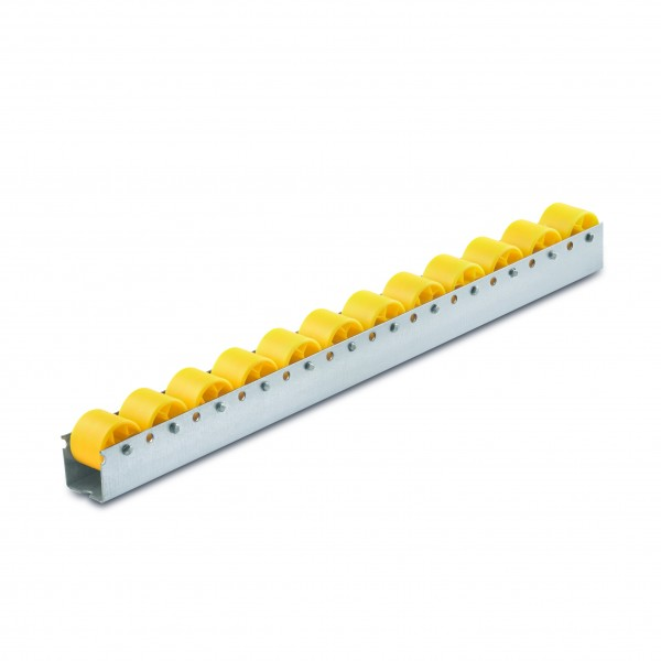 Röllchenleiste 500 mm Stahlprofil Polypropylenrollen Ø 30 mm gelb