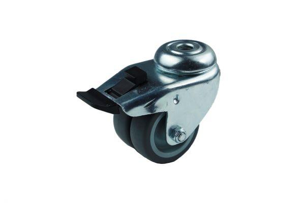 Apparatedoppelrolle Lenkrolle Bremse Rückenloch Gleitlager Thermoplast 50 mm