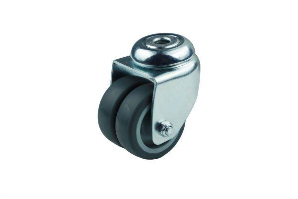 Apparatedoppelrolle Lenkrolle Rückenloch Gleitlager Thermoplast 50 mm